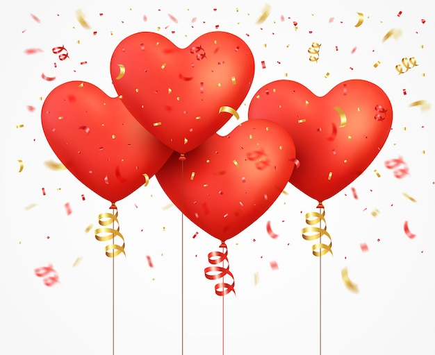 Red balloons heart with ribbon and confetti