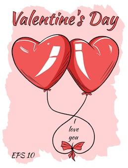 Красные воздушные шары в форме сердца. изолированная иллюстрация в мультяшном стиле.