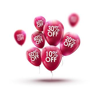 Концепция продажи рекламы рынка красных воздушных шаров. магазин или маркетинговый дизайн магазина. розничная скидка фон.