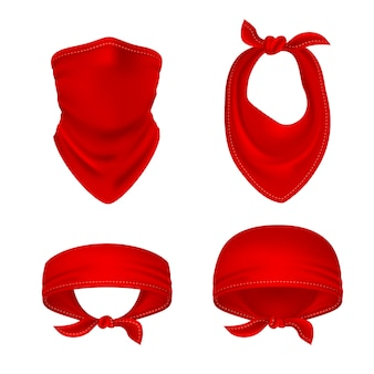 Red bandana. cowboy or biker face scarf, bandanna neck shawl. blank handkerchief unisex uniform. western clothes isolated vector set