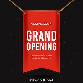 Red banderole grand opening realistic style