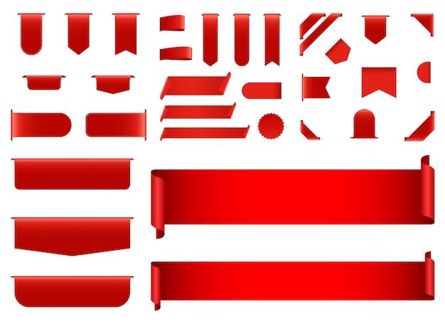 白い背景で隔離の赤いバナーイラスト