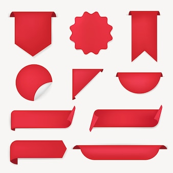 Adesivo banner rosso, set di clipart semplice di vettore vuoto