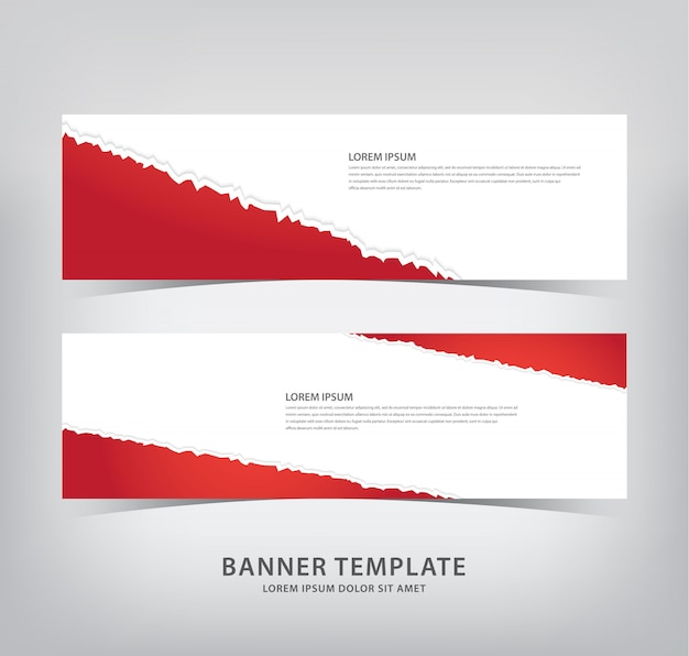 Red banner with torn paper style