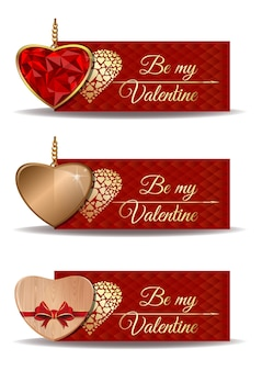 Red banners set for valentines day. be my valentine. golden heart, wooden heart, shaped ruby heart in a gold.