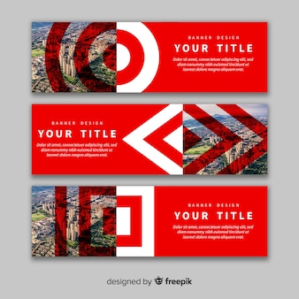 Red banners with images