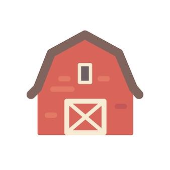 Red barn building flat illustration.