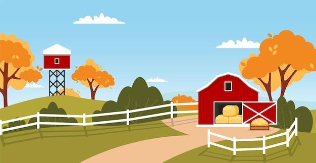 빨간 헛간 집 농장 풍경입니다. 시골 집 시골 농업 초원입니다.