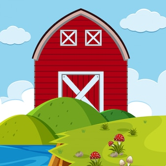 Red barn outdoors scene
