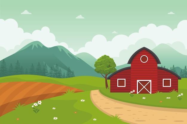 美しい自然の風景、農場の田園風景と赤い納屋