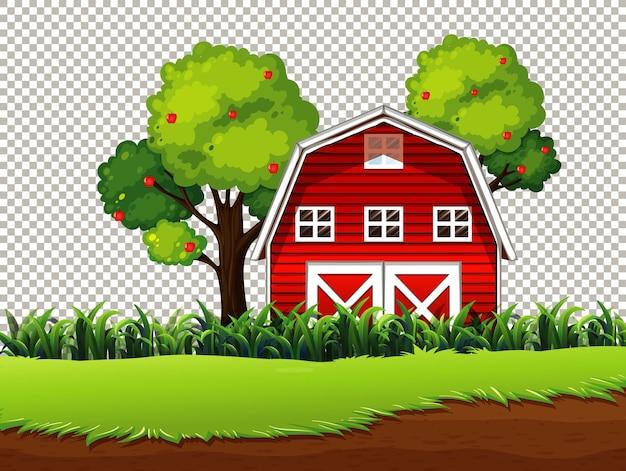 透明な背景に牧草地とリンゴの木と赤い納屋