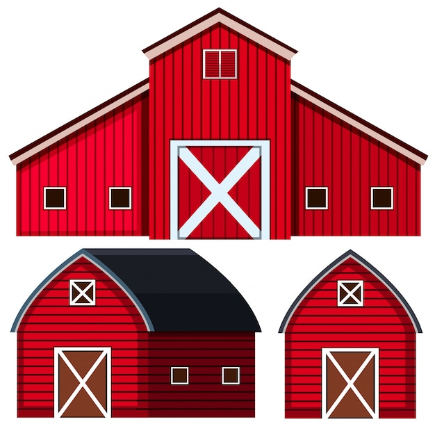 Red barns in three designs