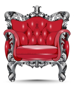 Red baroque armchair. furniture with victorian ornamented fabric. vector realistic 3d desi