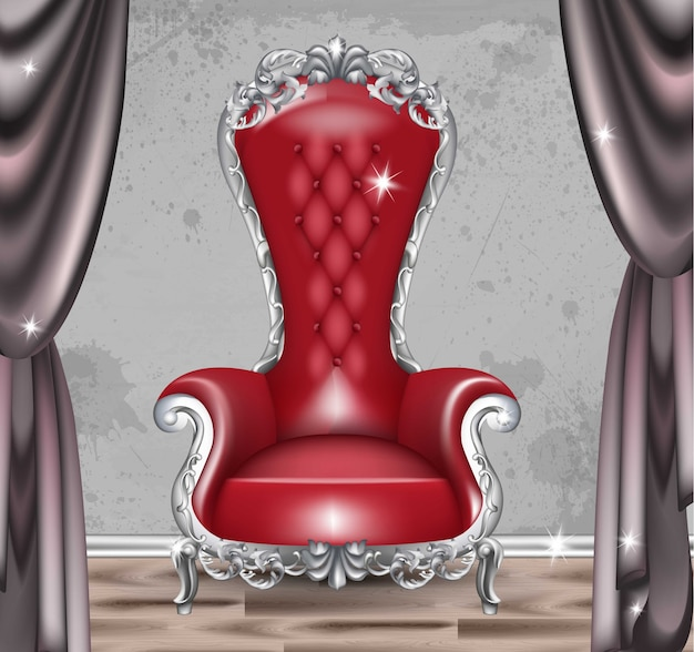 Red baroque glamour armchair. furniture with victorian ornamented fabric. vector realistic