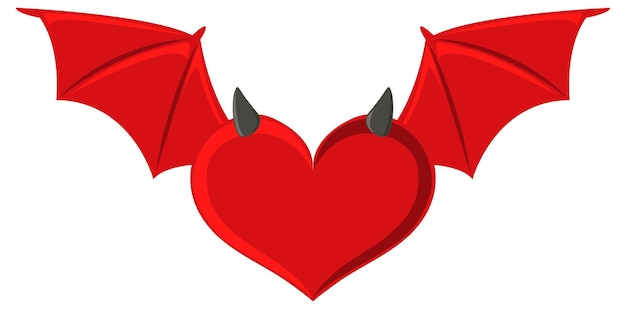 白い背景の上のハート形の赤いコウモリ