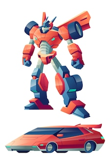 Red battle robot capable to transform in sport car cartoon