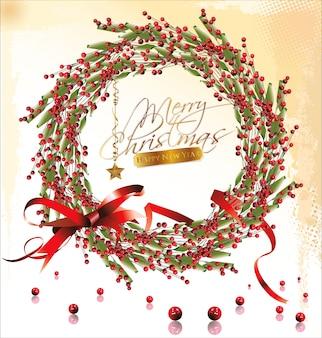 Красный безделушка рождественский венок с красной лентой