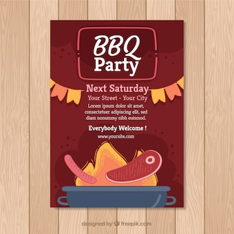 Red bbq invitation template