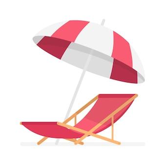 Красный шезлонг и пляжный зонт. векторная иллюстрация.