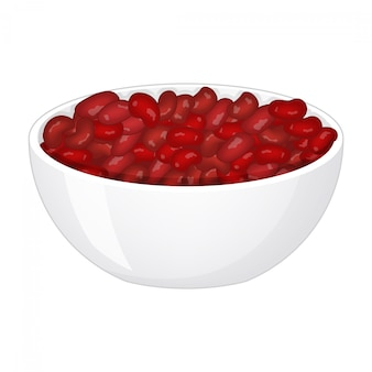 흰색 배경에 깊은 도자기 접시에 빨간 콩. 삽화.