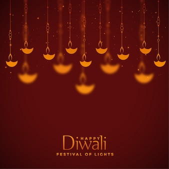 Red beautiful diwali lamps decoration background