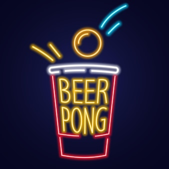 Red beer pong plastic cup and ball with splashing beer traditional party drinking game