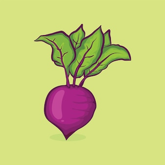 Red beetroot with leaf icon isolated vector illustration with outline cartoon simple color