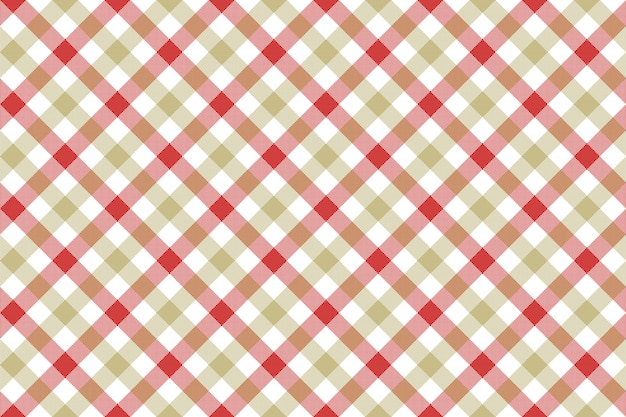 Red beige check diagonal fabric texture background seamless pattern