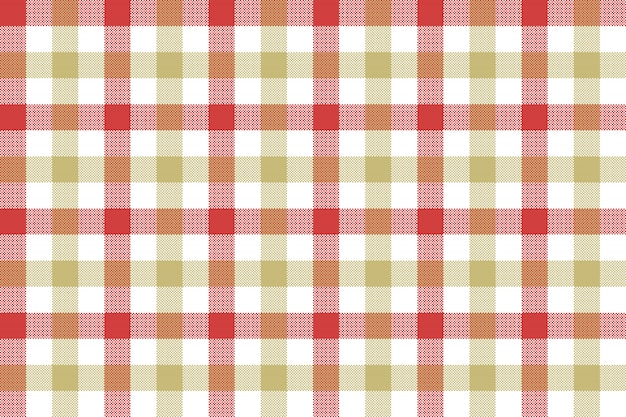 Red beige check fabric texture background seamless pattern