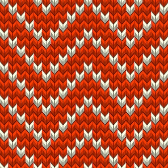 Red and beige knit zig-zag texture.