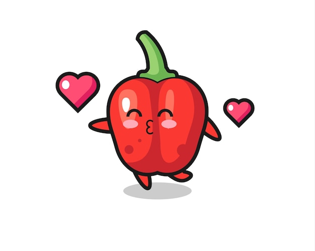 Red bell pepper character cartoon with kissing gesture