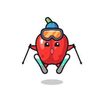 Персонаж талисмана красного болгарского перца как лыжник, милый стиль дизайна для футболки, наклейки, элемента логотипа