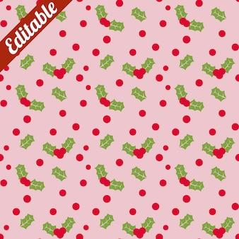 Red berries green leaf pattern