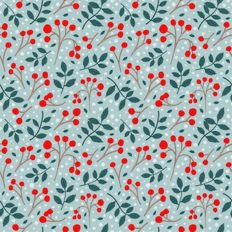 Red berries and small branch with leave seamless pattern