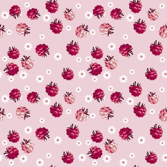 Red berry on pale rosy seamless pattern