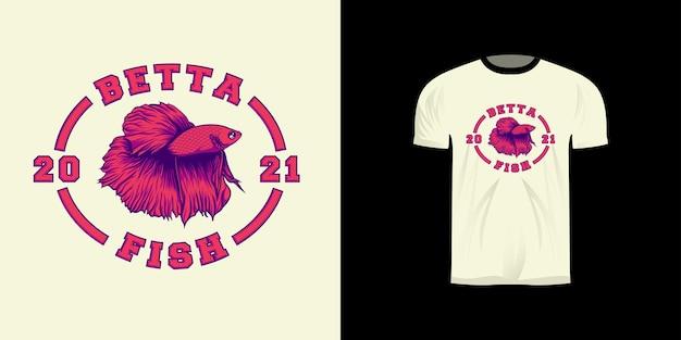 Красная рыба бетта иллюстрация для дизайна футболки