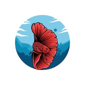 赤いベタの魚のイラスト