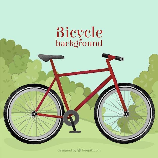 시골 배경에서 빨간 자전거