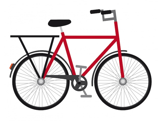 Red bicycle isolated over white background vector