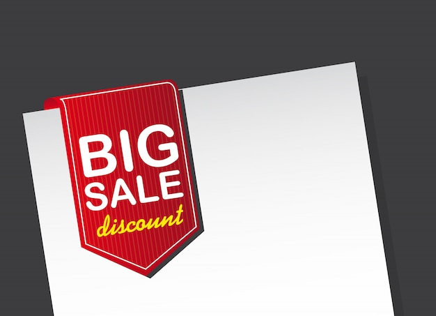 Red big sale tag over white paper over black background