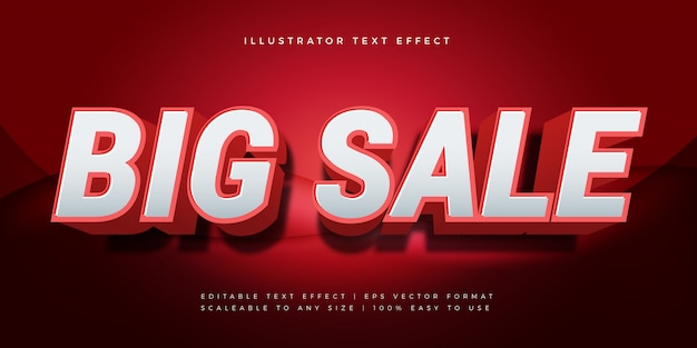Red big sale text style font effect