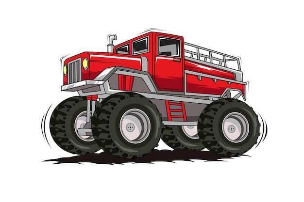 Red big truck monster car illustration hand drawing