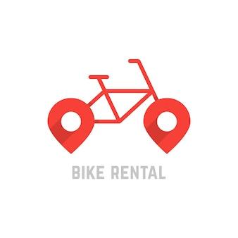 マップピン付きの赤い自転車レンタルロゴ。自転車のコンセプト、自転車の販売、自転車のレンタル、旅行、会社のマーク、修理。白い背景で隔離。フラットスタイルトレンドモダンなロゴタイプデザインベクトルイラスト