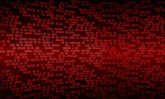 Red binary cyber circuit future technology concept background