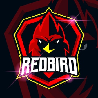 Red bird esport logo template design