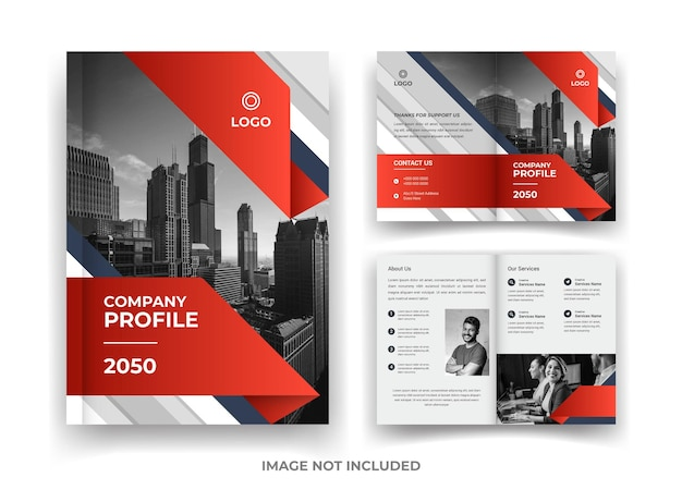 Red and black 04 page business brochure design and annual report and magazine template
