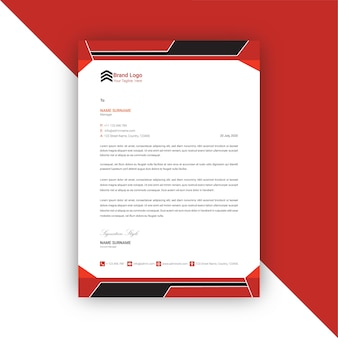 Red and black abstract letterhead template