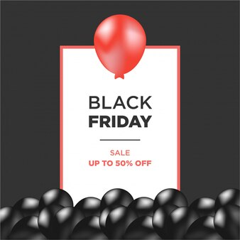 Red and black air balloons with black friday frame