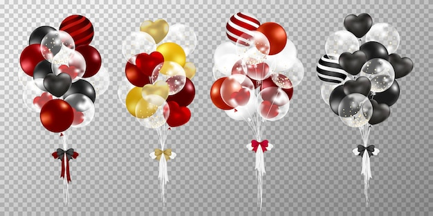 Red and black balloons on transparent background.