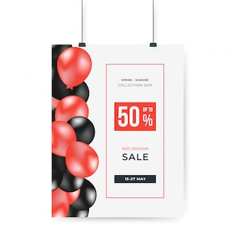 Red and black balloons with 50% off big sale special poster offer